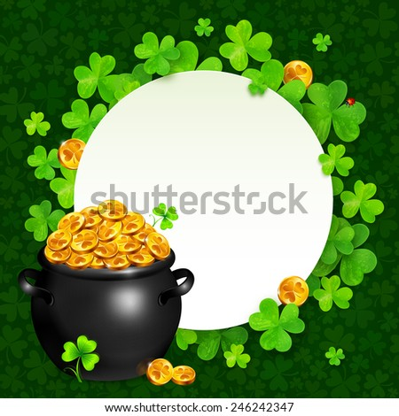 Vector black pot of magic gold on clovers circle background