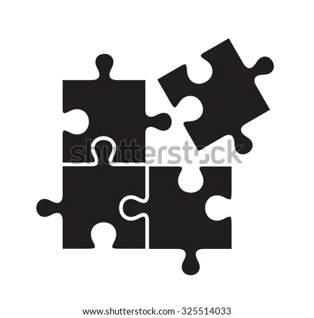 vector black puzzles icon on