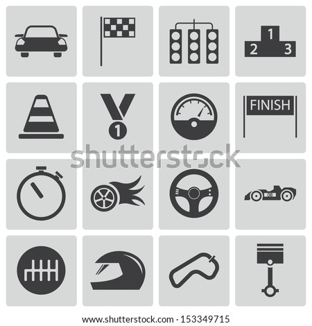 vector black  racing icons set