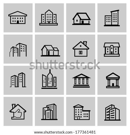 vector black real estate set