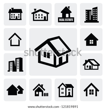 vector black real estate set on gray