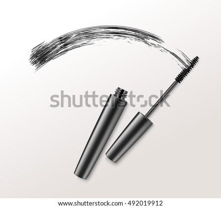 Vector Black Realistic Mascara Brush Strokes Isolated on White Background