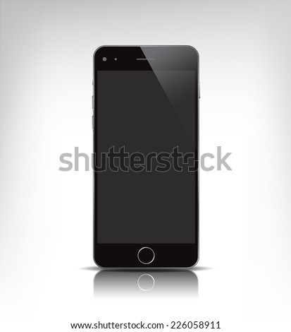 vector black realistic phone, with empty screen isolated