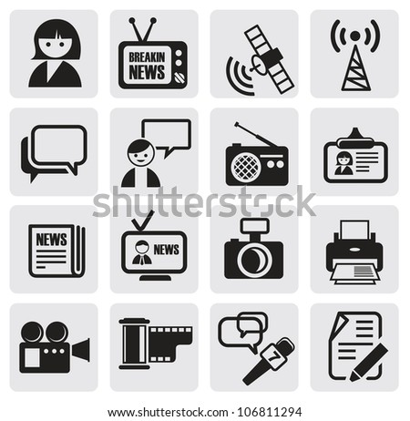 vector black reporter icons set