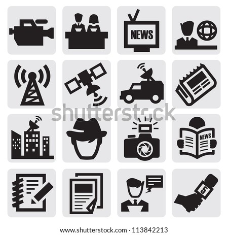 vector black reporter icons set on gray