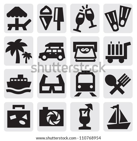 vector black rest icons set on gray