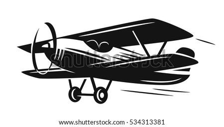vector black retro biplane on