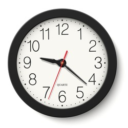 Vector black round wall clock isolated