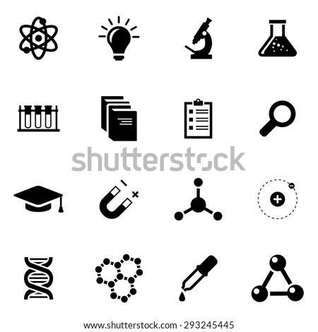 Vector black science icon set.