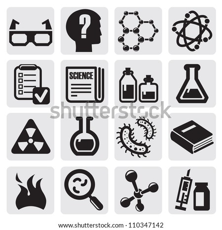 vector black science icon set on gray