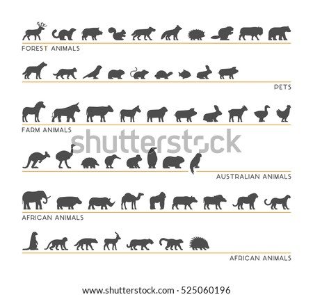 vector black set of silhouettes