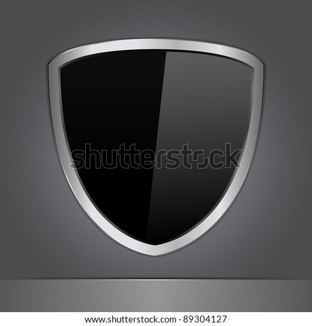 Vector Black Shield on a Metal Background