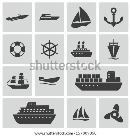 vector black ship and boat