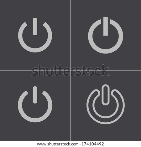 Vector black shut down icons set on gray background