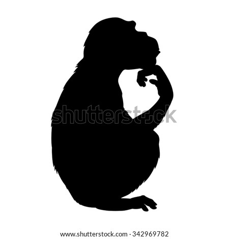 Vector black silhouette of a chimpanzee sitting in thinking pose.