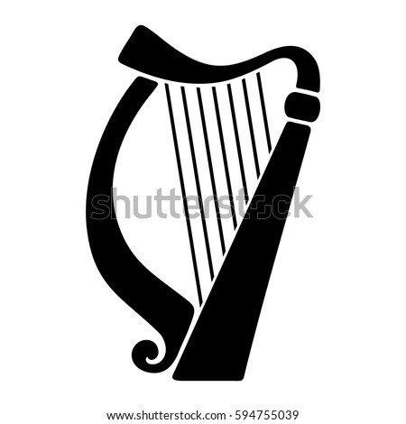 Vector black silhouette of a harp isolated on a white background. Stock photo ©