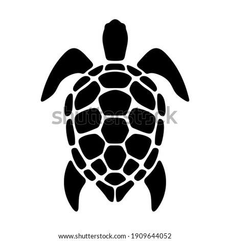 Vector black silhouette of a turtle isolated on a white background. Stock photo ©