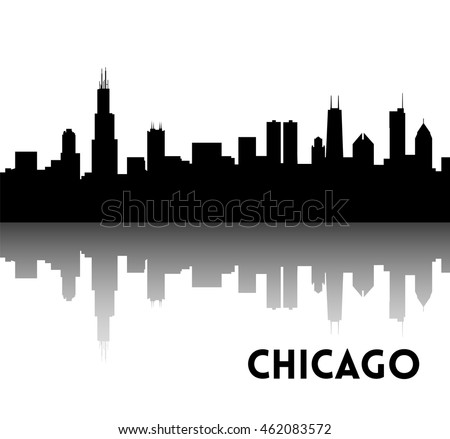Vector Black Silhouette Of Chicago Skyline Downtown With Skyscrapers Illinois USA