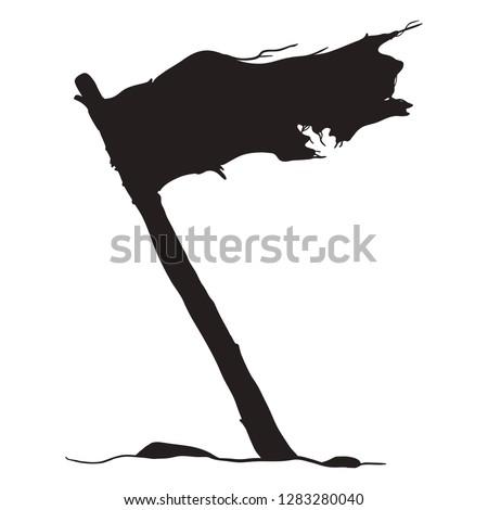 Vector Black Silhouette of Waving Old Tattered Flag