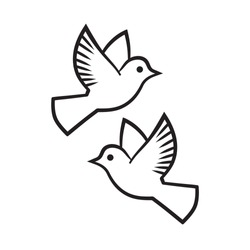 Vector black silhouette pair of free flying doves. Wedding two pigeons hand drawn.  Symbol of love and marriage. Couple of white birds isolated on white background