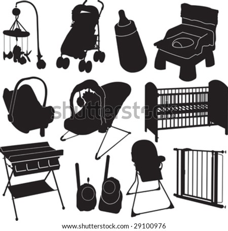 vector black silhouettes of baby related objects