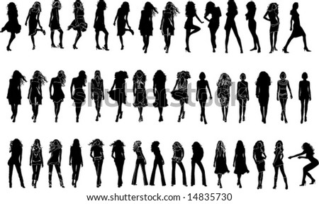 Vector black silhouettes of  beautiful woman on the white