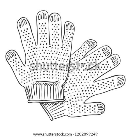 Vector Black Sketch Illustration - Textile Workers Gloves