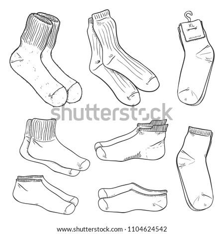 Vector Black Sketch Set of Different Socks