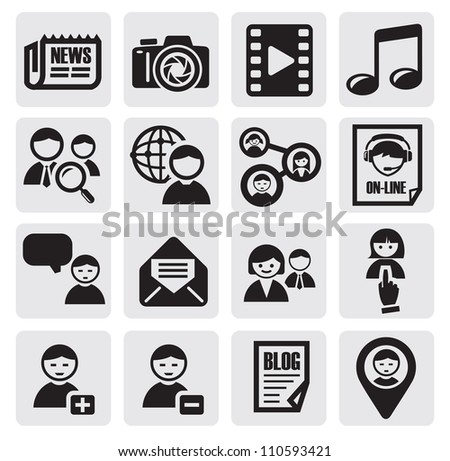 vector black social network icon set on gray