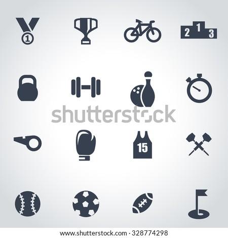 Vector black sport icon set.