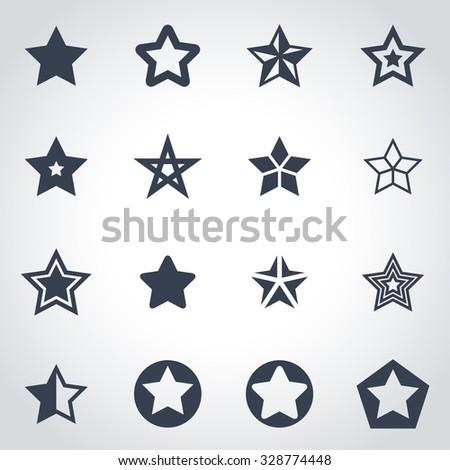 Vector black stars icon set.