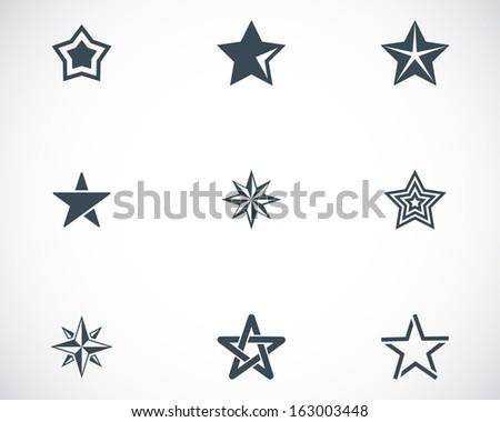 vector black stars icons set