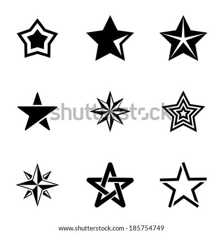 vector black stars icons set on
