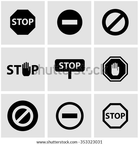 Vector black stop sign icon set.