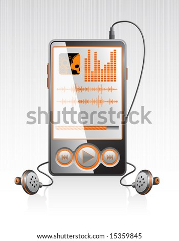 Vector black stylish player with modern orange interface on aluminum texture