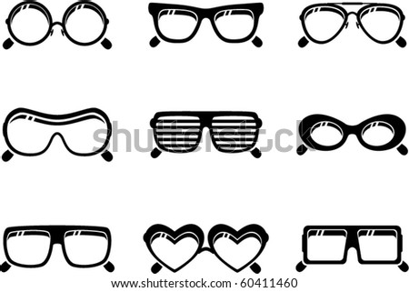 vector black sunglasses icons set on white background