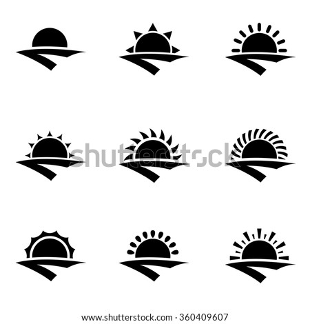 vector black sunrise icon set