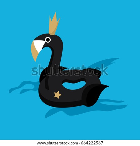 vector black swan with a crown float in the pool
