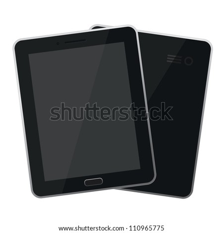 Vector: Black Tablet Computer - Front and Back - EPS10