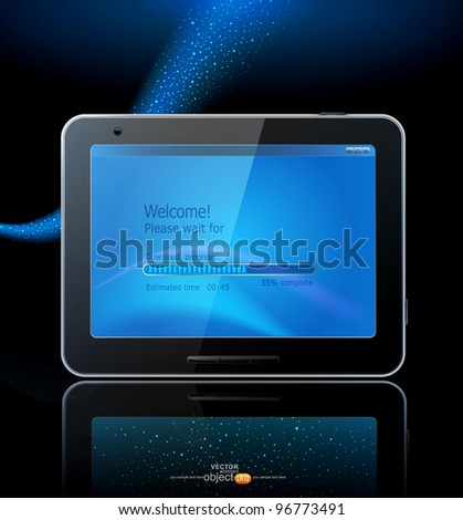 vector black tablet pad with a blue screen and a reflection on a blue background. - stock vector
