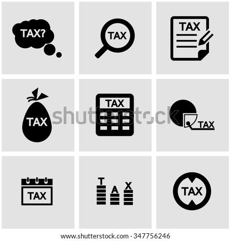Vector black tax icon set.
