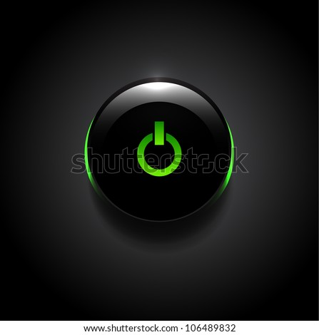 Vector black technology buttons with power button