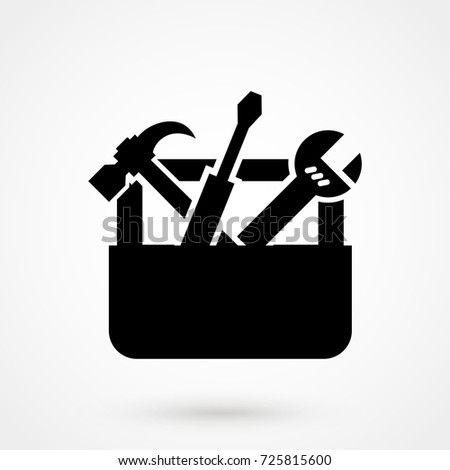vector black toolbox with tools icon isolated on background. Modern flat pictogram, business, marketing. Trendy Simple vector symbol for web site design or button to mobile app. Logo illustration