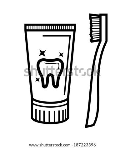 Раскраска зубная щетка и паста