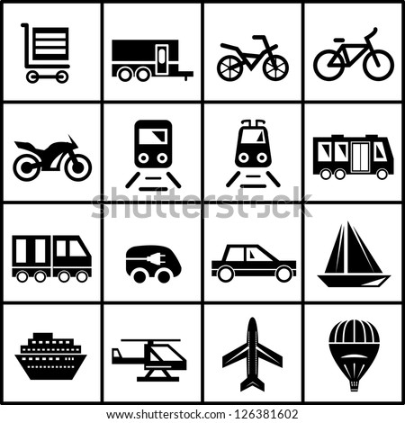 Vector black transportation icon set isolated on white