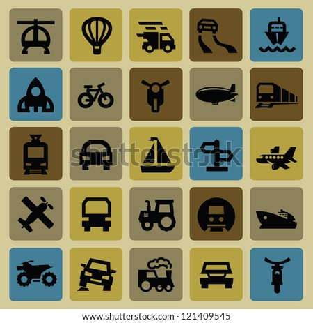 vector black transportation icon set on color