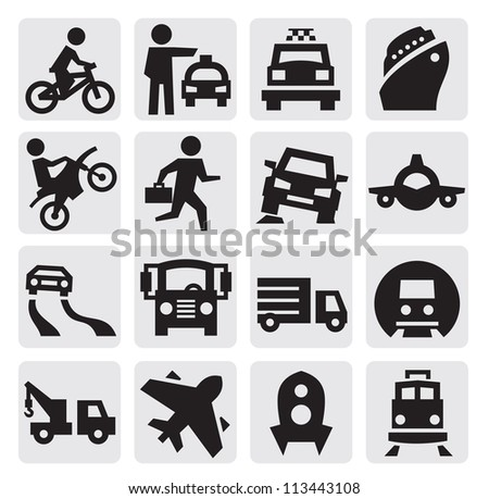 vector black transportation icon set on gray