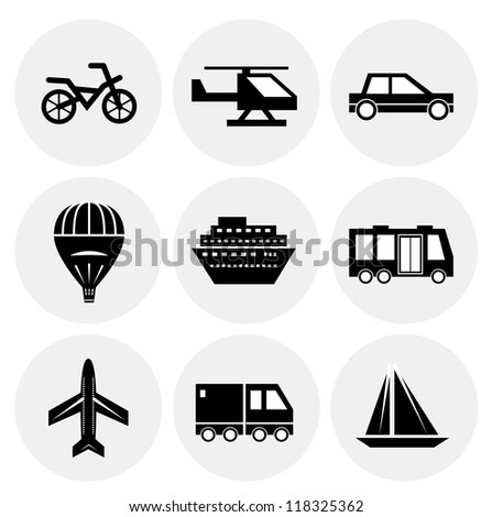 Vector black transportation icons. Icon set