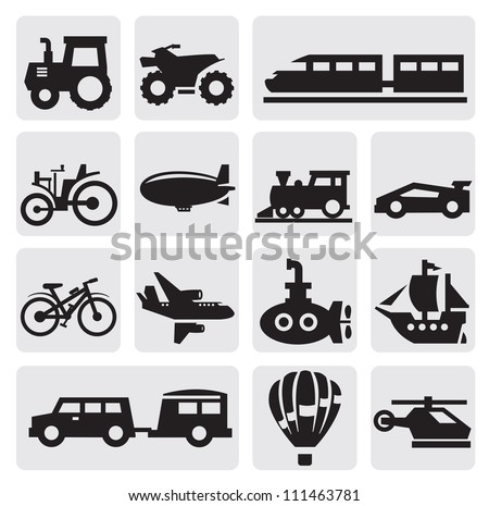 Vector black transportation icons set on gray