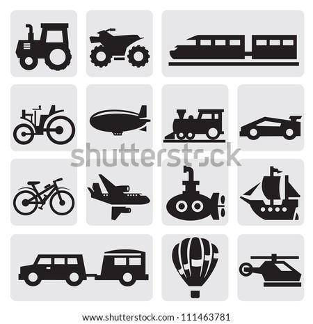 Vector black transportation icons set on gray